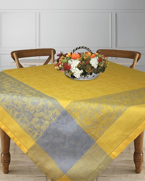 Tablecloth Jacquard woven Linen Cotton 60-inch Fiori Collection