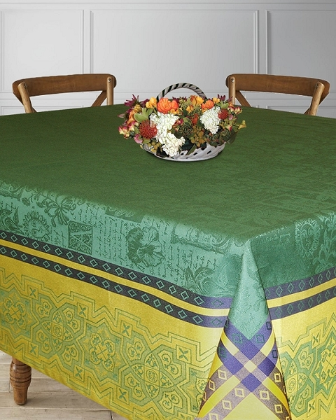Table Linens Cotton Foliage Green Indigo Collection