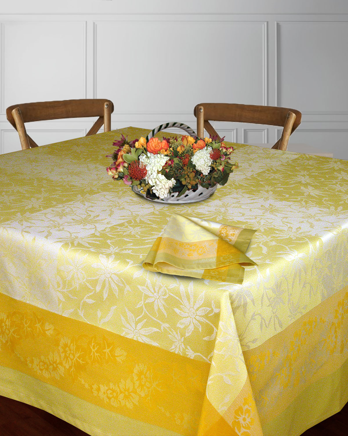 Table Linens Artisan Gold, Vanilla, Olive Green - Made in Italy