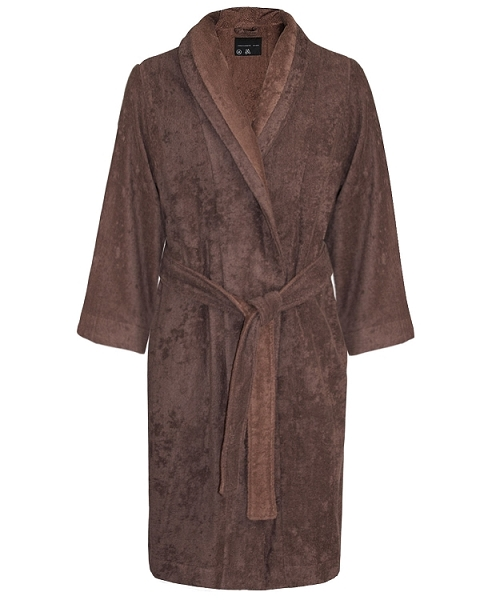 Lounge Bath Robe Slipper Set Bi-face Chocolate-Golden Brown Faccia dei Colori