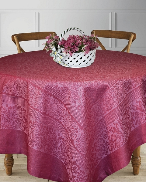 Table Linens Linen Cotton Scroll Floral Raspberry, Fontanka Collection