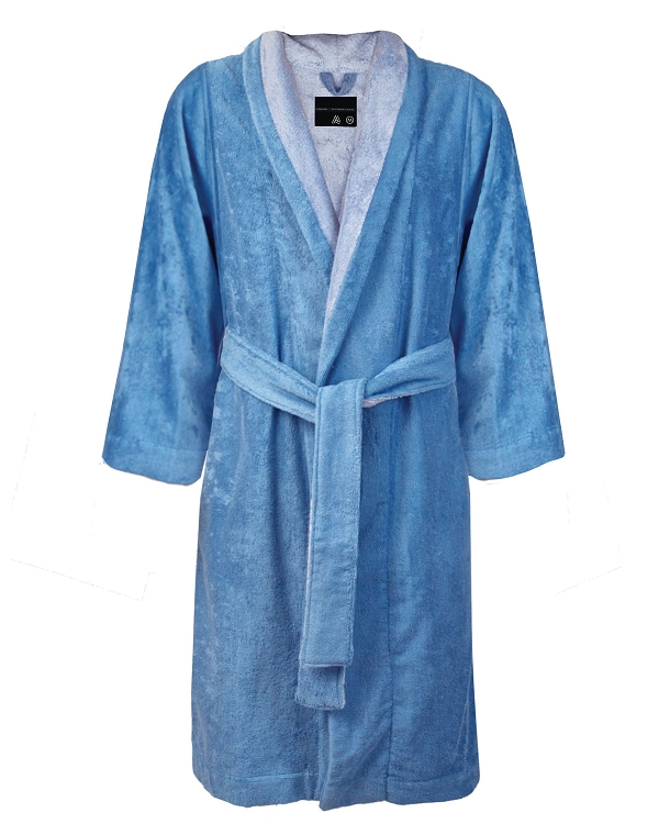 Bath Robe Slippers Set Bi-face Blue Hydrangea-Silver Grey, Faccia dei Colori