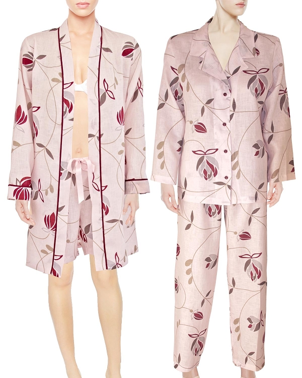 Pajama Lounge Robe Boxer Short Set of 3 Piece,  Pure Linen, Heavenly Pink