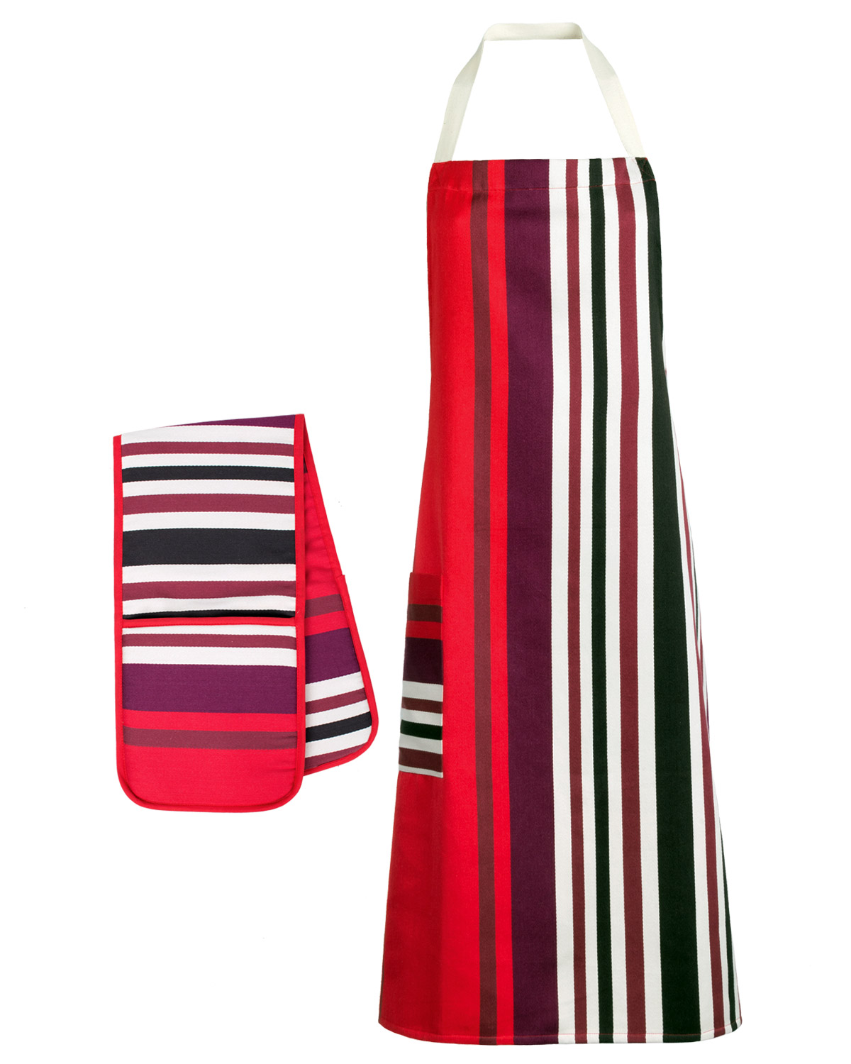 Kitchen Apron + Double Oven Gloves - Monte Carlo Cotton Red Multi Stripes