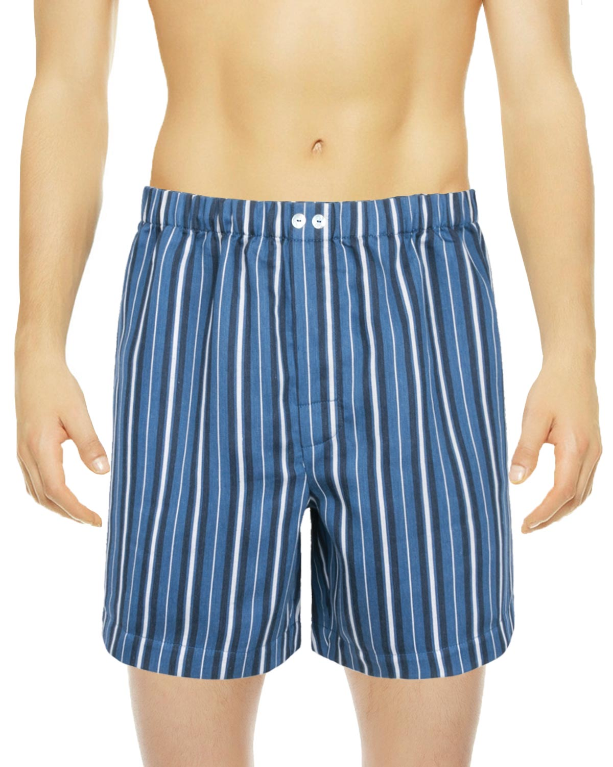 Charm Blue Striped Boxer Shorts, Encanto Blend of Sateen Linen Cotton