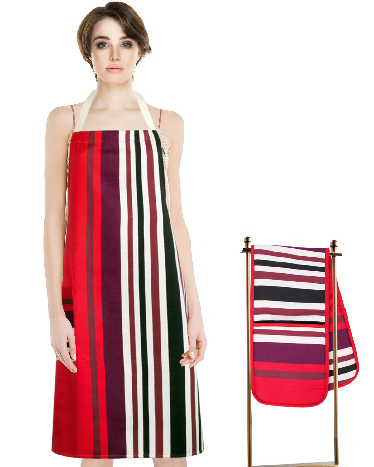 Kitchen Apron + Double Oven Gloves - Monte Carlo Cotton Red Stripes