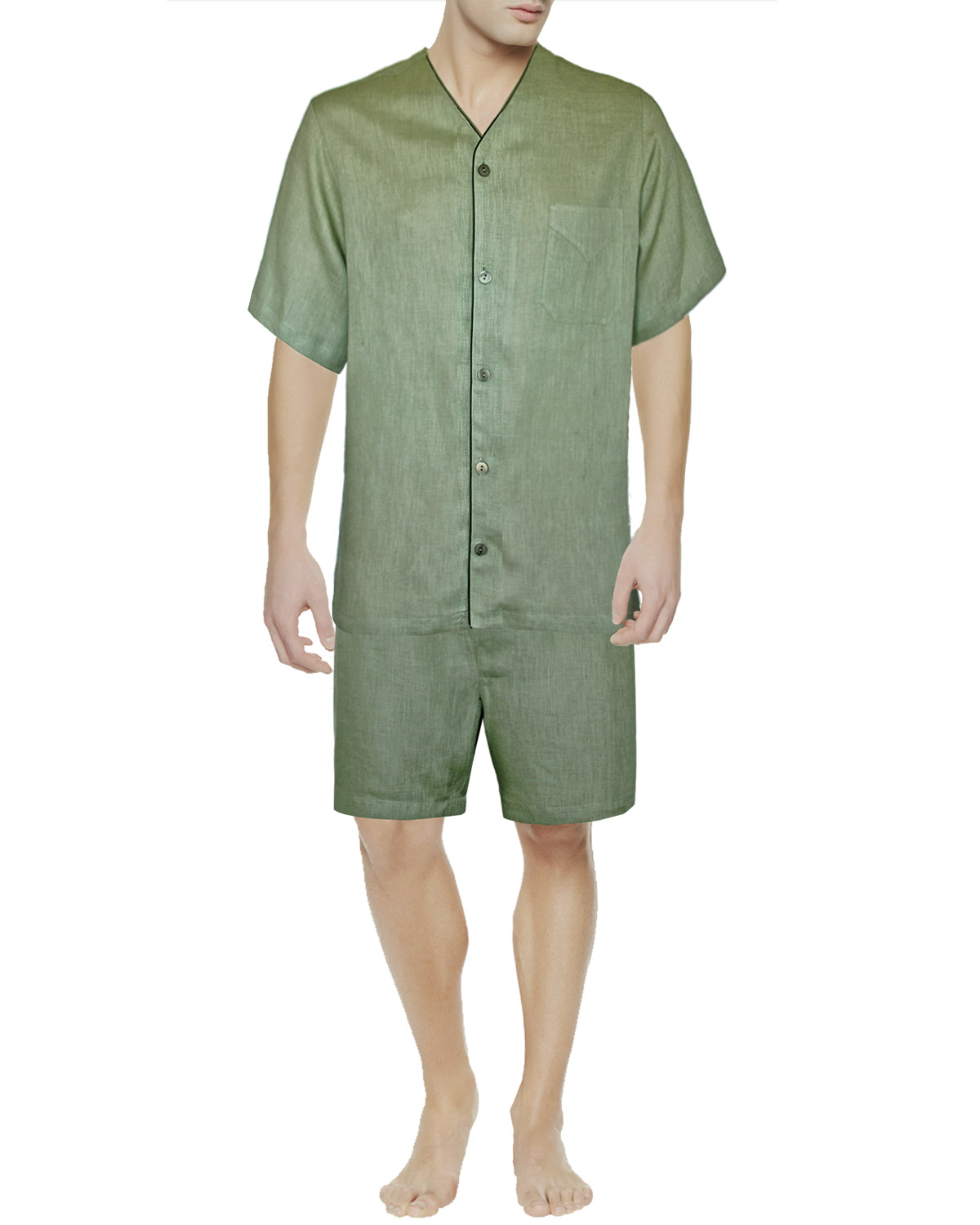 Linen Short Pajama Sage, Dante Collection