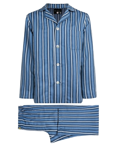 Pajama Set Striped Linen Cotton Sateen Blue Striped, Encanto Collection