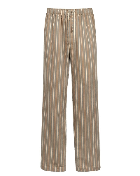 Striped Pajama Trousers Sateen Linen Cotton Caramel Encanto Collection