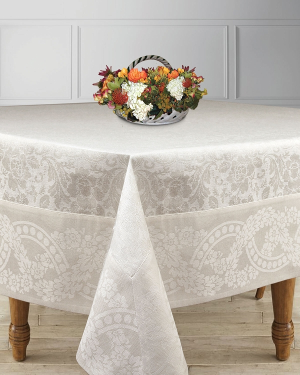 Exquisite Table Linens Jacquard Linen Cotton White-Champagn Floral, Finesse Collection