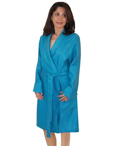 Lounge Night Robe Woven Linen Sateen Dressing Gown Herringbone Twill Grace Collection