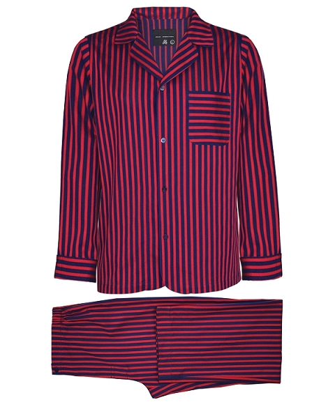Pajamas Striped Sateen Cotton Burgundy-Blue, Hamilton Collection