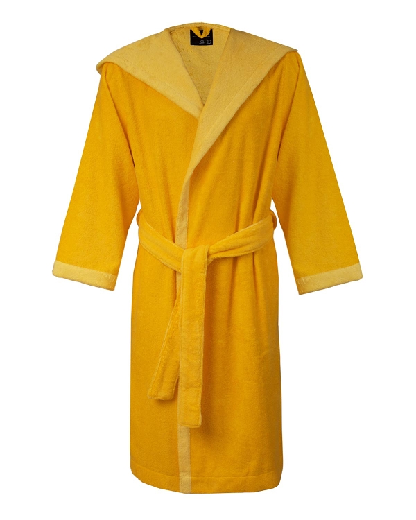 Hooded Terrycloth Bathrobe Slippers Daffodil -Golden Haze
