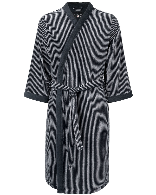 Kimono Bath Robe & Slippers Velour Striped Black-Silver Grey