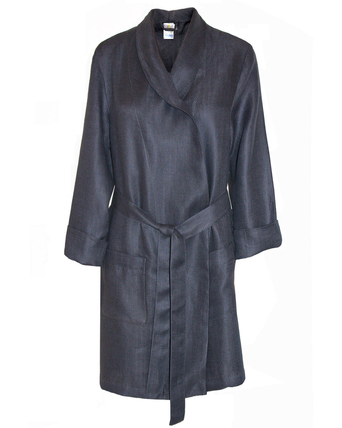 Fitted Robe Woven Sateen Linen, Man In Style Smokey Grey