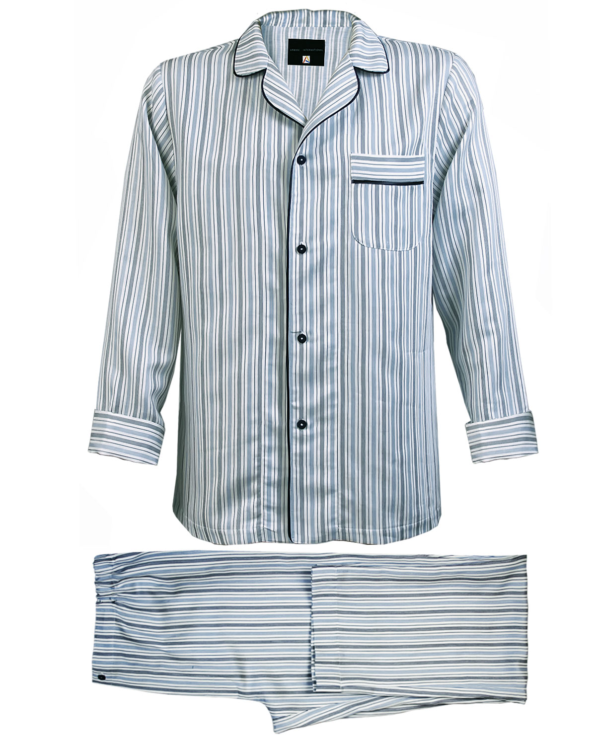 Pajamas Pinstriped Sateen Linen Cotton, Vincenzi Collection