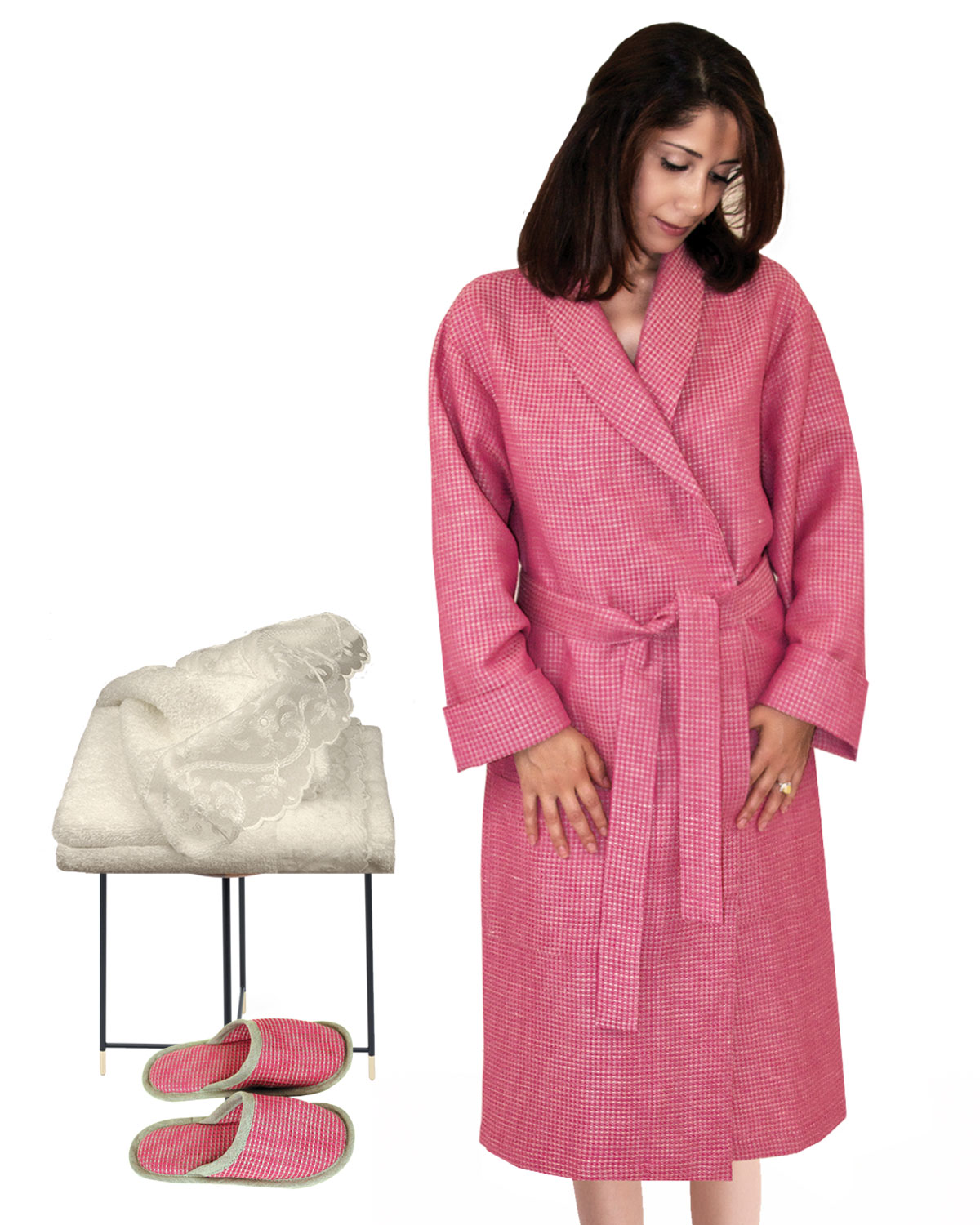 Robe + Slippers + Hand Towel Tea Rose-Natural, Evie Collection