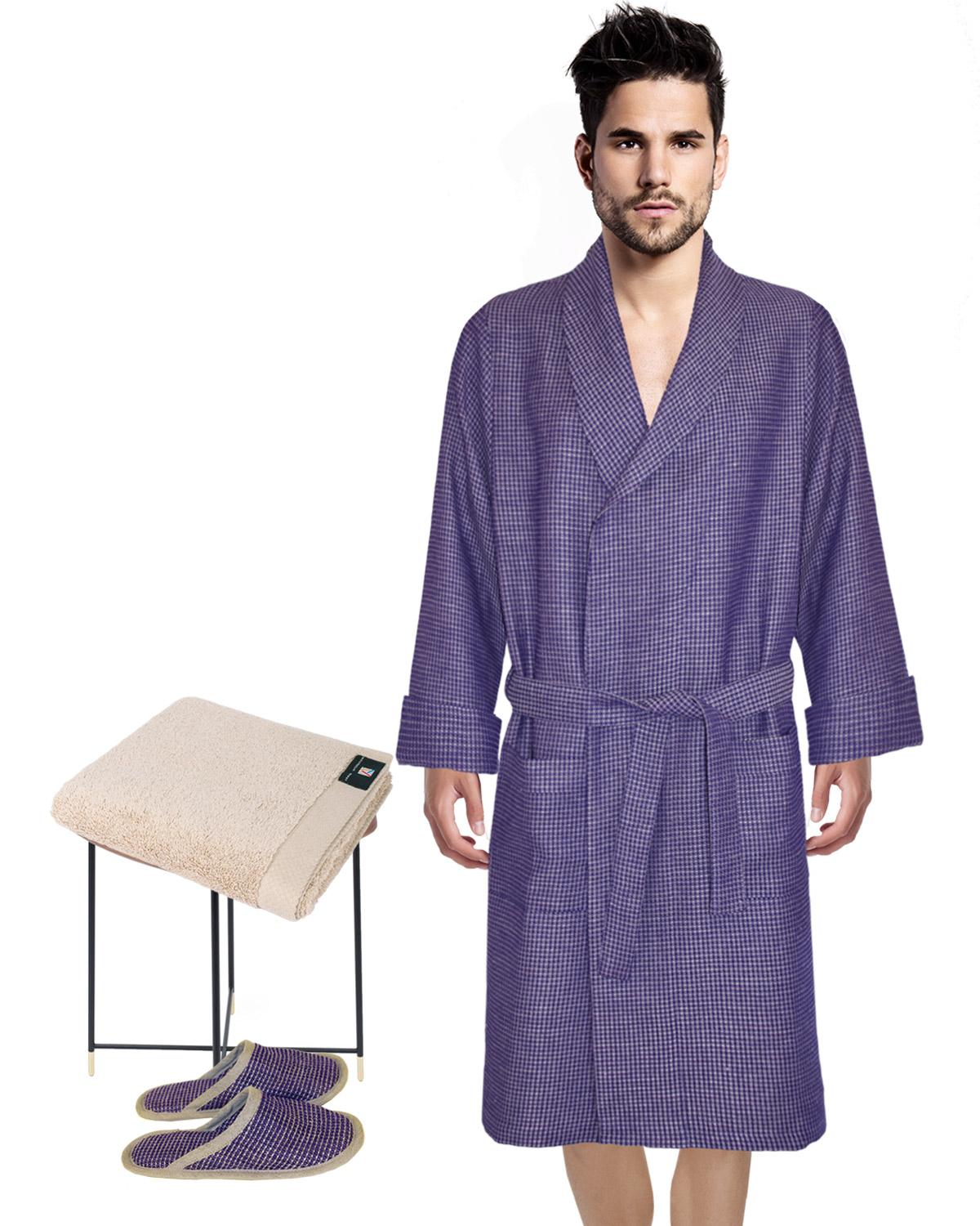 Waffle Robe + Slippers + Hand Towel in Petunia/Natural, Puglia Luxury