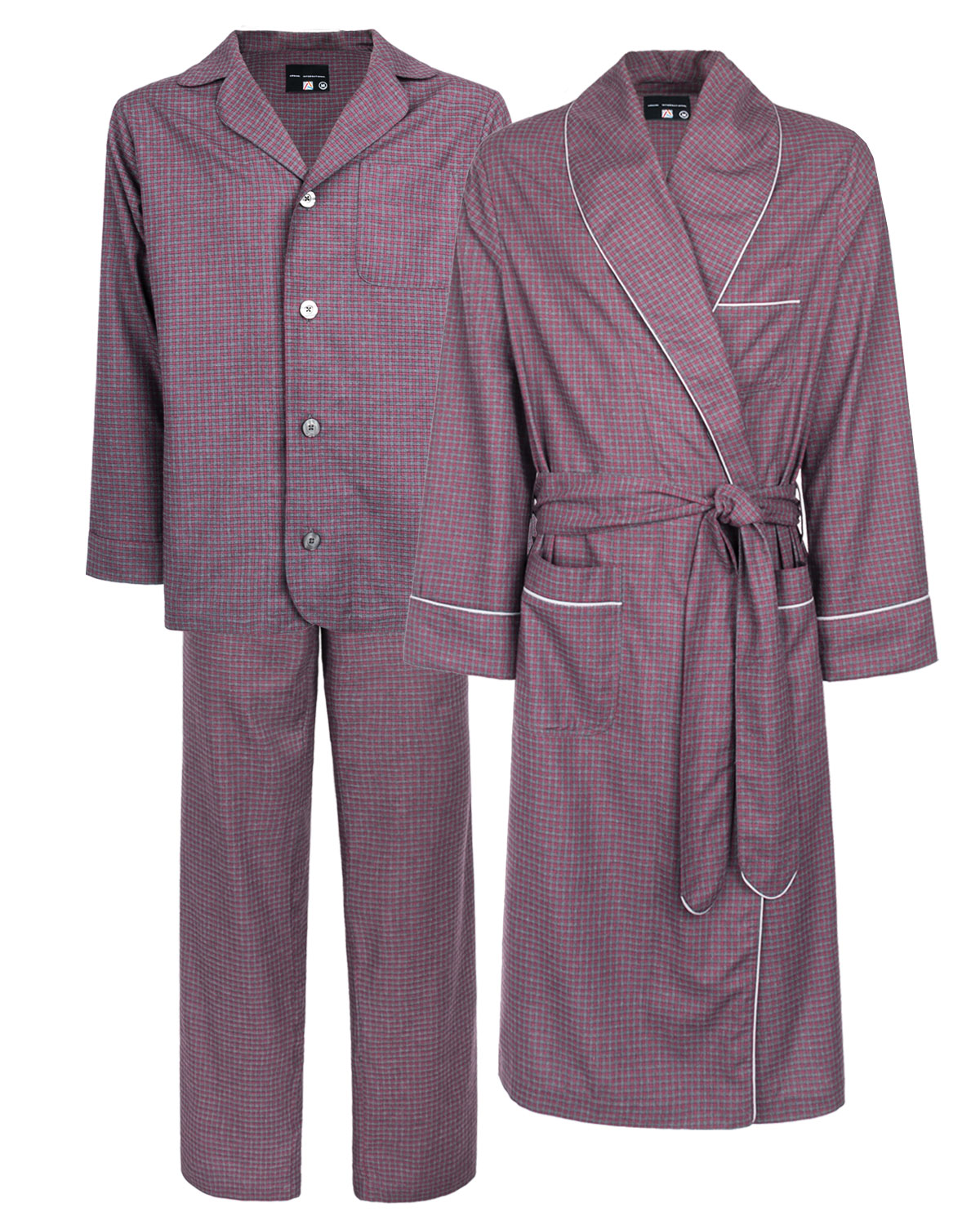 Pajamas Dressing Gown Set Brushed Thermal Checked Grey-Burgundy, Sophestique Immense