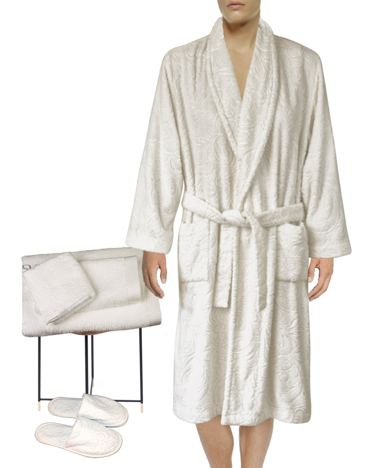 Lounge Robe, Slippers, Guest Hand , Hand Towels, Wash Mitt, White Tubéreuse Amour Collection