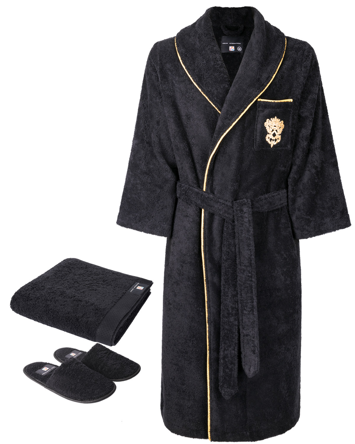 Robe, Slippers, Hand Towel Set - Roma Medallion Piped, Black-Gold