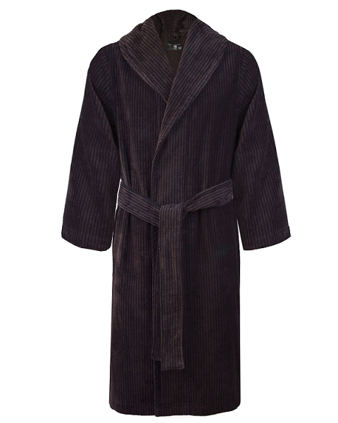 Lounge Bath Robe Set Velour Chestnut-Black Mystique Collection