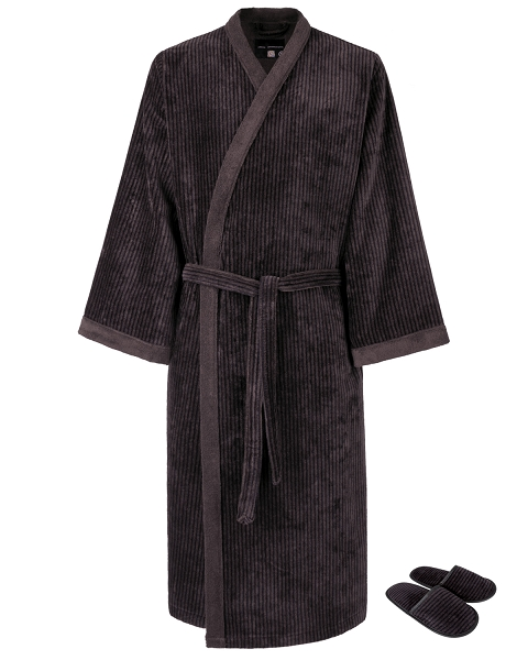 Kimono Bath Robe Set Velour Striped Chestnut-Black Balenciaga Collection