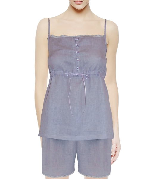Camisole Short Laced-Trimmed Two-Piece Nightie Set Smokey Lilac Carina Collection