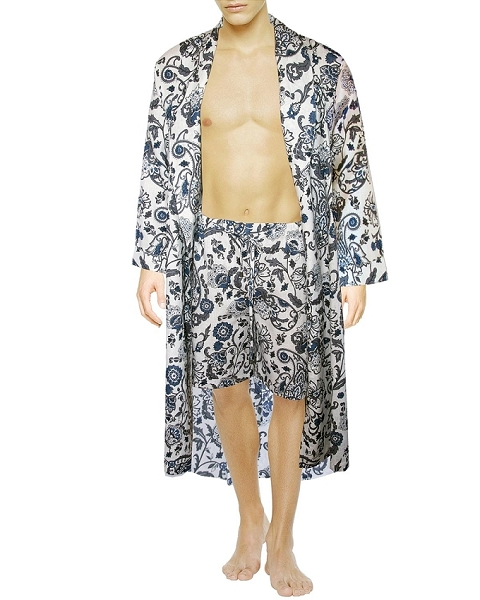 Lounge Night Robe with Shorts Set Linen Printed Gabriel Collection