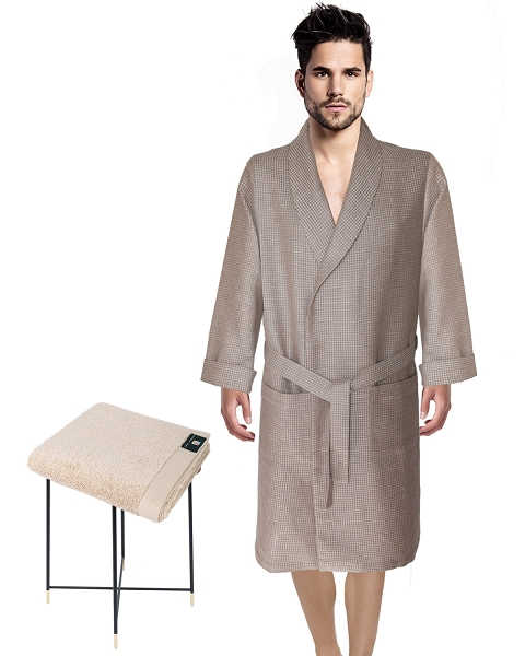 Waffle Robe Linen Cotton + Hand Towel Beige-Natural, Capri Luxury