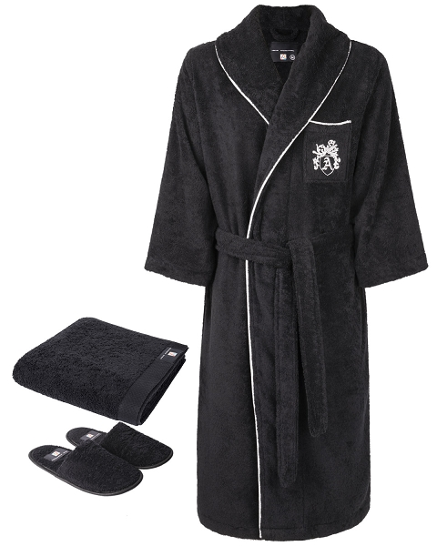 Robe, Slippers & Hand Towel - Armanetti Medallion Piped Black-Silver