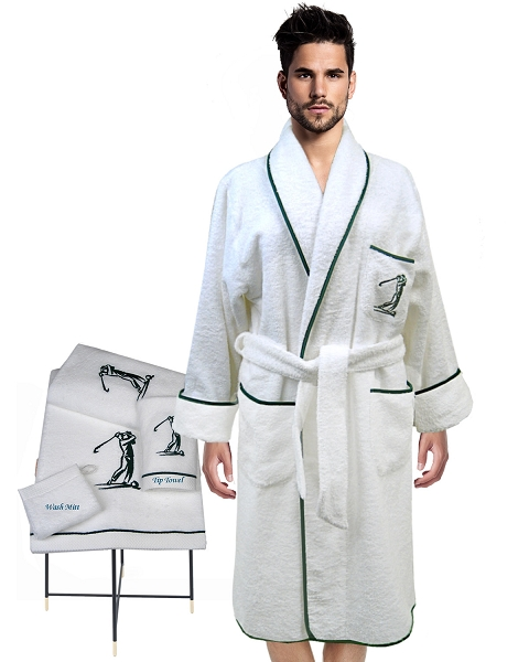 Lounge Robes + Guest Towel + Wash Mitt, Golfers Collection