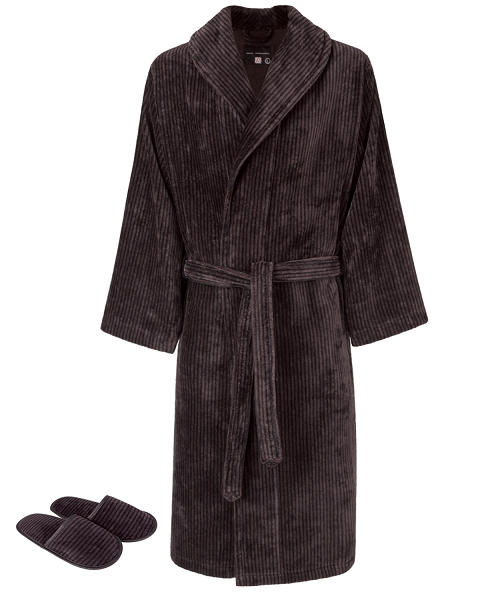 Shawl Robe Slippers Set Velour Chestnut-Black Mystique Collection