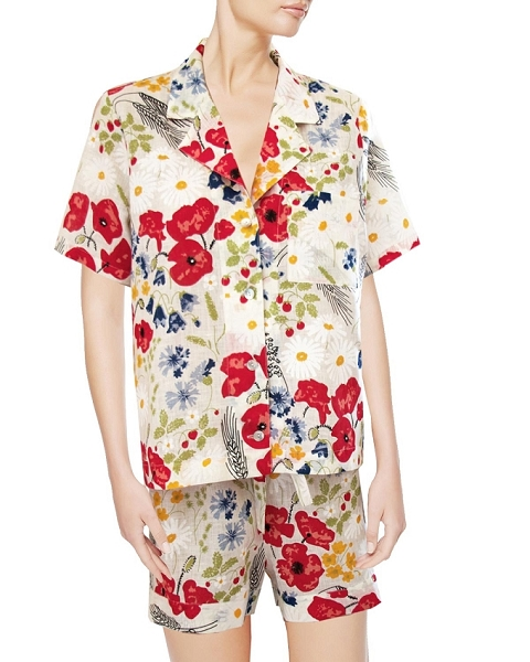 Linen Floral Short Pajama Sets, Ma Bijou in White-Floral