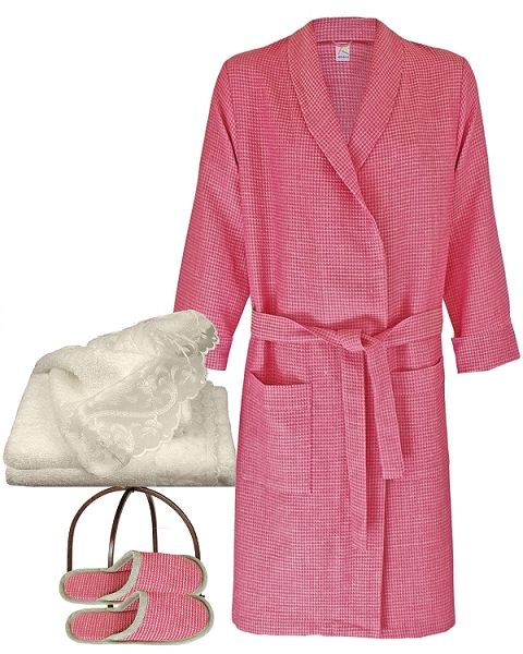 Robe Slippers Hand Towel Tea Rose-Natural, Evie Collection