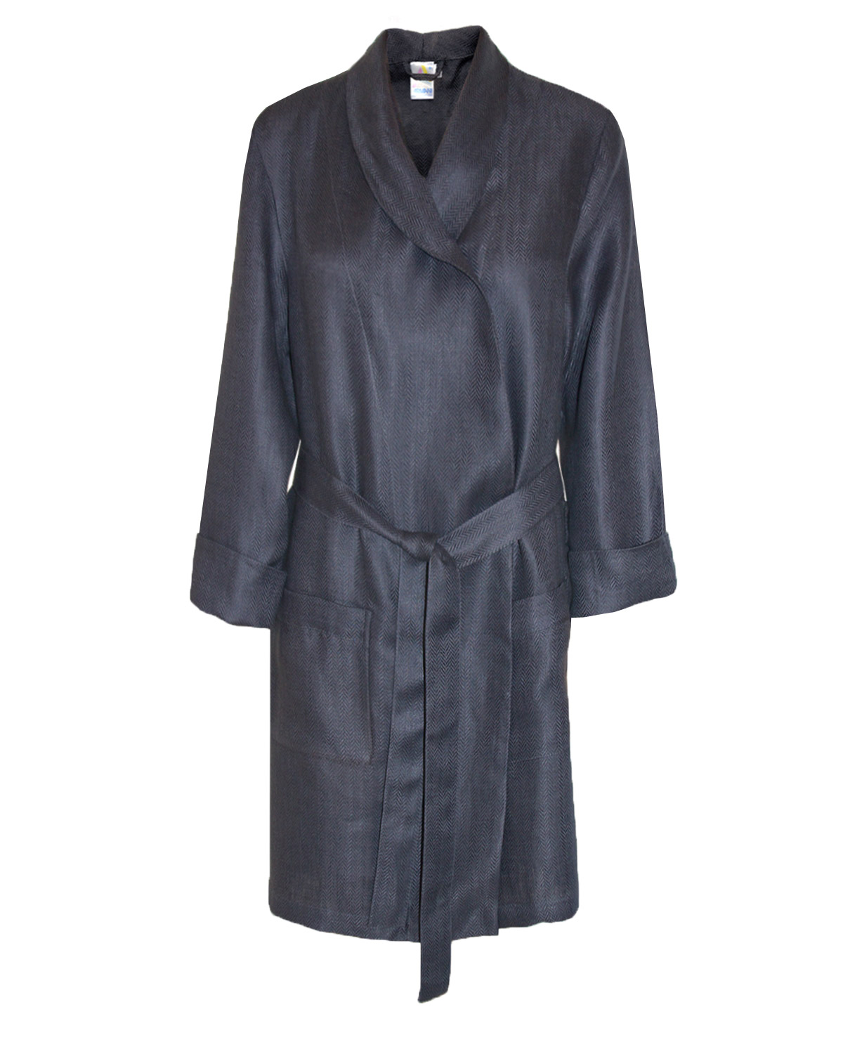 Fitted Robe Woven Sateen Linen Smokey Grey, Man In Style