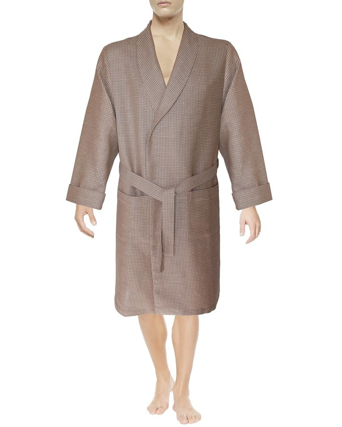 Lounge Robe Slipper Set Waffle Knitted Linen Cotton Light Brown-Beige