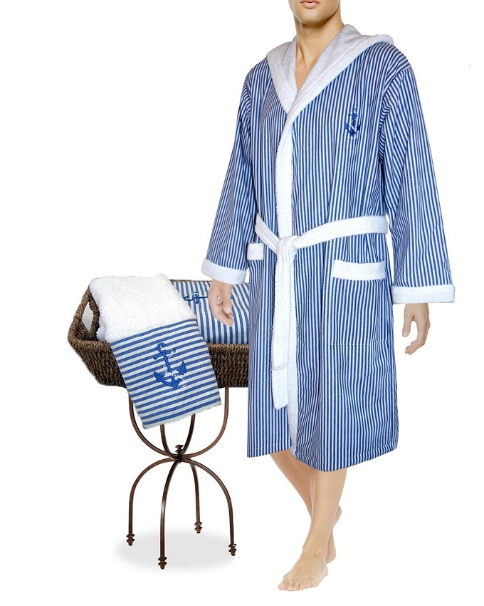 Hooded Body Robe Hand Towel Set Nautical Collection