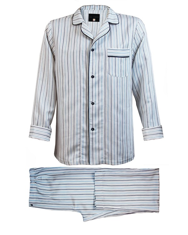 Pajama Set Pinstriped Sateen Linen Cotton, Vincenzi Collection