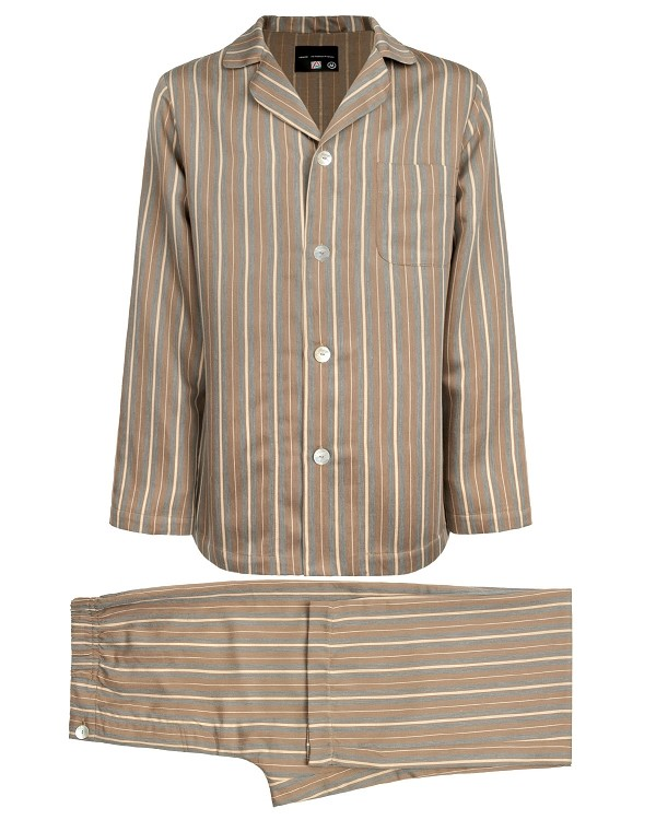 Pajama Set Striped Sateen Linen Cotton Caramel-Grey Striped, Encanto Collection